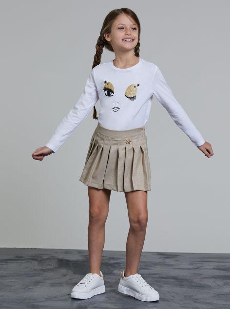 Shorts plissettato con elastico