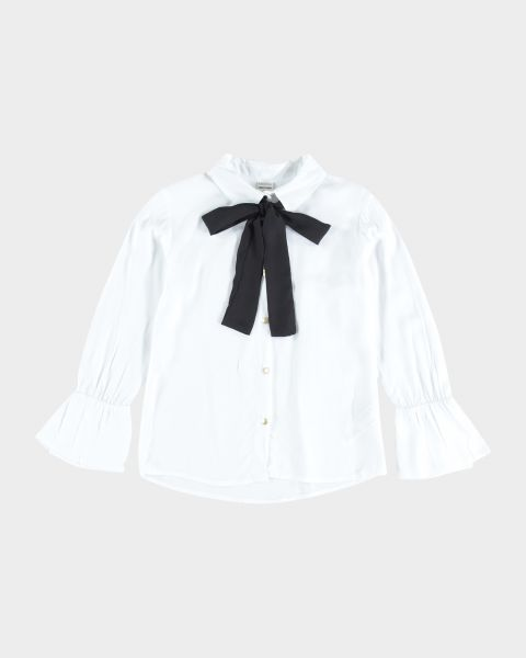 Camicia con maniche volant e fiocco