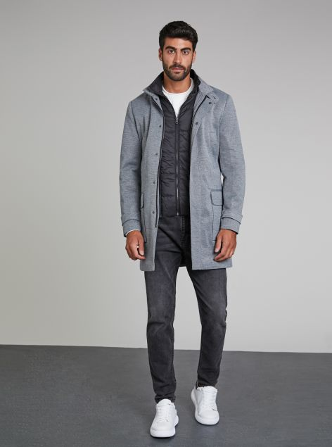 Cappotto con zip e gilet interno
