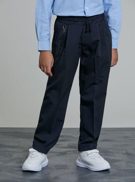 Pantaloni con elastico e catena laterale