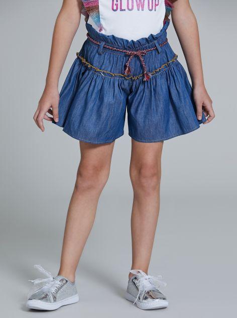 Shorts in denim con elastico arricciato in vita