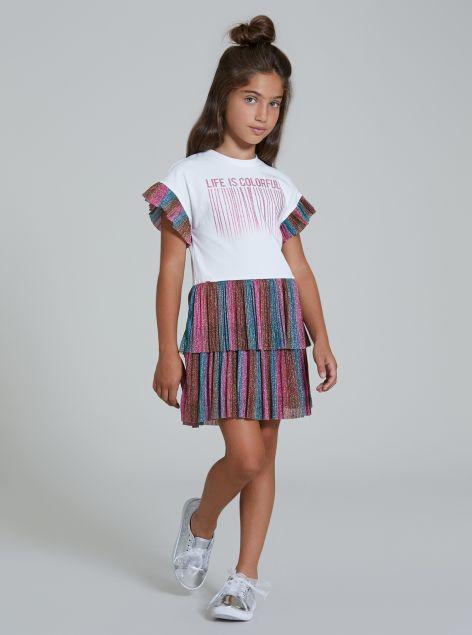 Vestito con rouche e stampa applicata