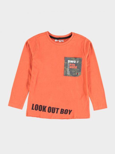 T-Shirt con taschino stampato