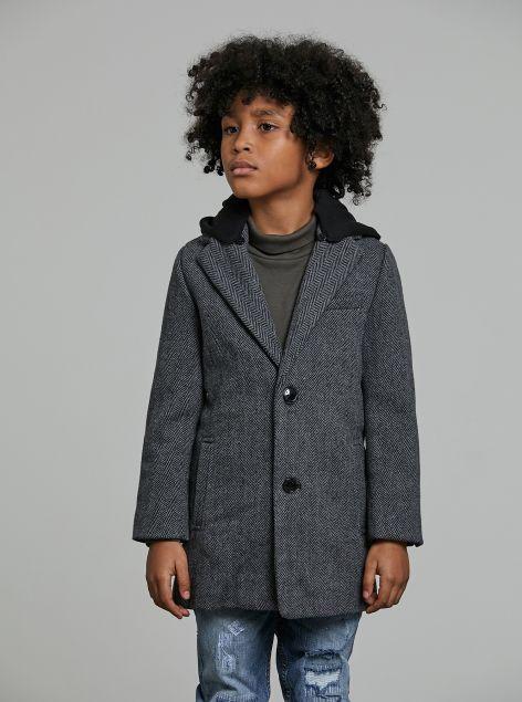 Cappotto spigato con cappuccio