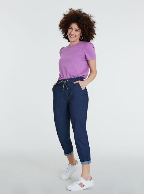 Pantaloni denim con elastico