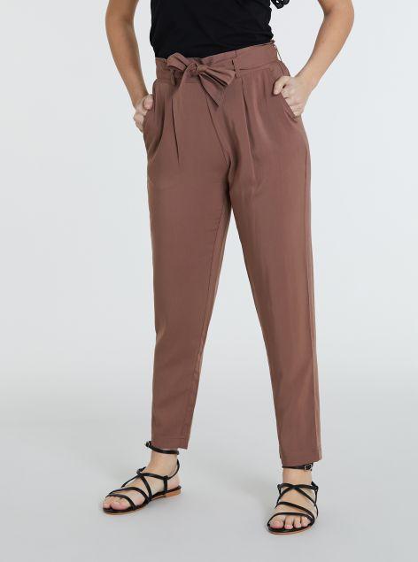 Pantaloni morbidi con fiocco