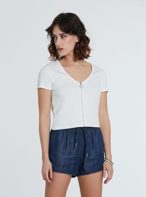 T-Shirt cropped con zip