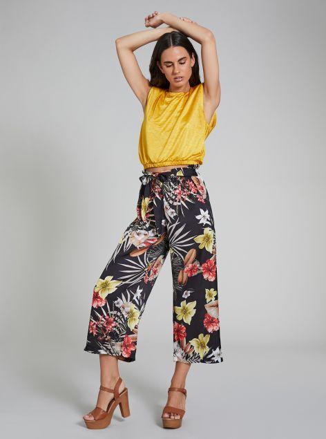 Pantaloni culotte con fiocco