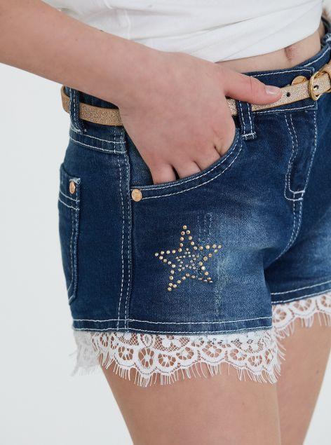Shorts con dettagli in pizzo