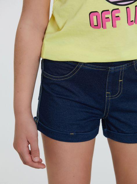 Shorts con elastico in denim