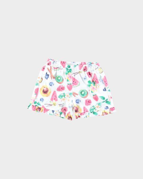 Shorts con volant floreali