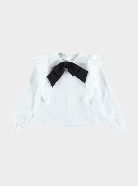 Camicia con fiocco e rouches