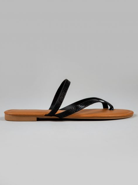 Sandalo con tomaia in ecopelle