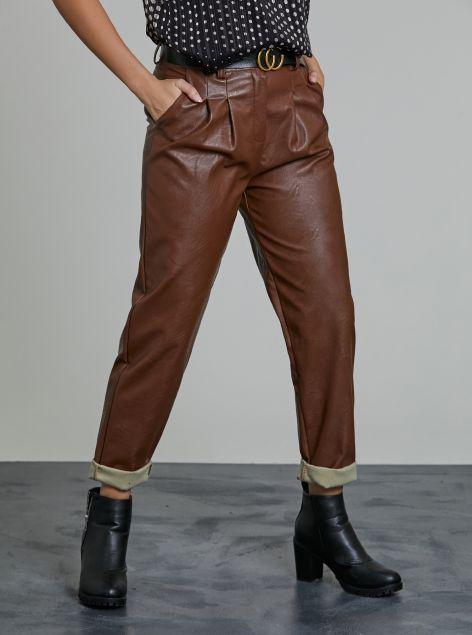 Pantaloni ecopelle