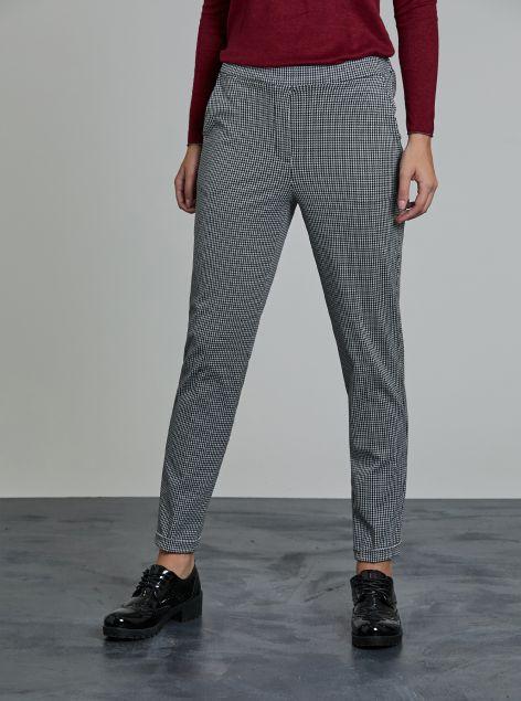 Pantaloni microquadrettati
