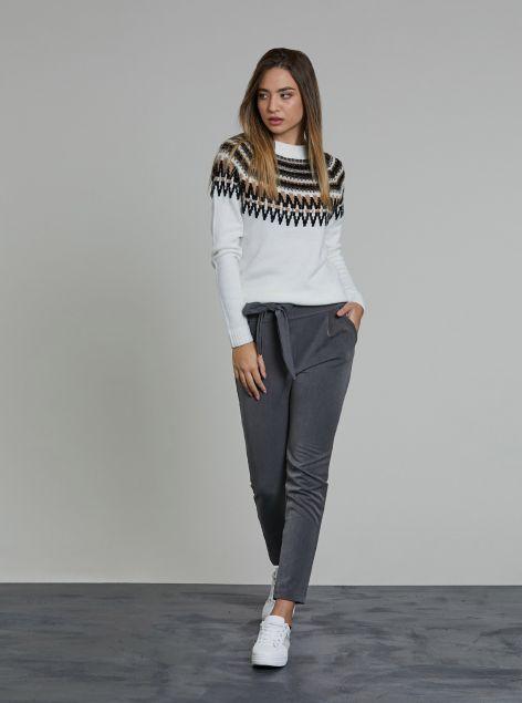 Pantaloni con cintura a fiocco
