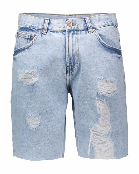 Bermuda in denim con strappi