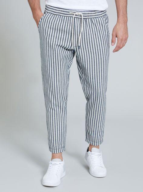 Pantalone in misto lino cotone a righe