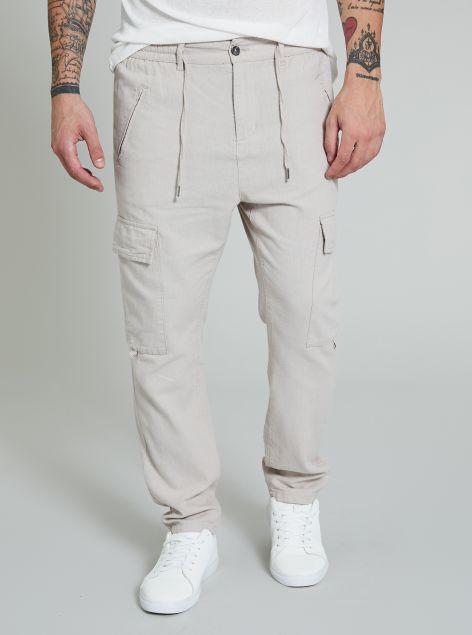 Pantaloni misto lino e cotone
