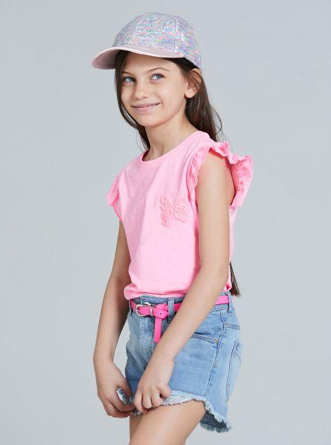 T-Shirt con rouche da bambina
