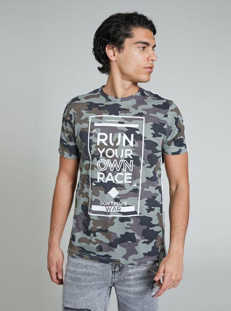 T-Shirt mimetica con stampa