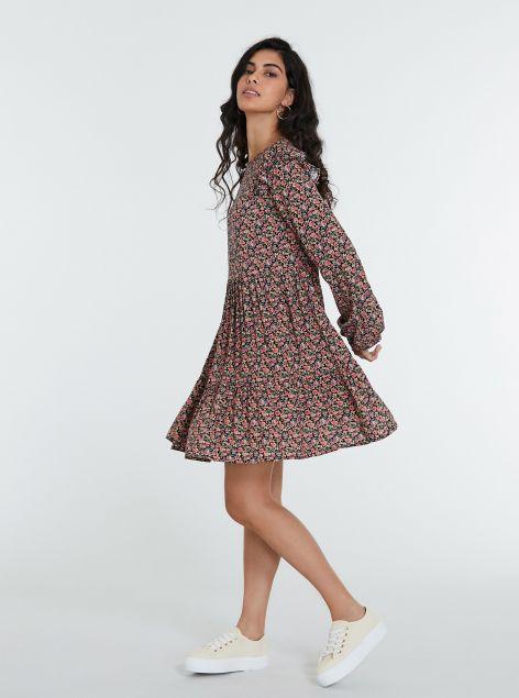 Vestito con rouches e stampe floreali
