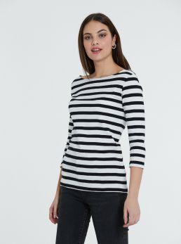 T-Shirt scollo ampio a righe