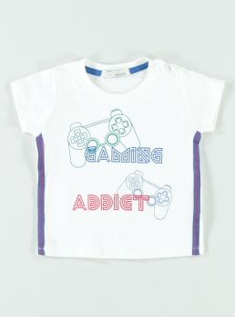 T-Shirt con stampa  e bande