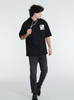 Felpa t-shirt con cappuccio