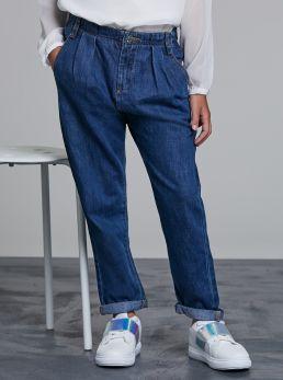 Jeans high-waist con arricciatura
