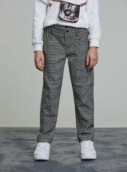 Pantaloni vita alta stampa check