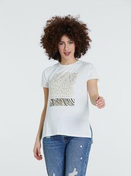 T-Shirt con stampe e spacchetti laterali