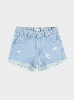 Shorts in denim sfilacciato