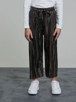 Pantaloni plissettati effetto lucido